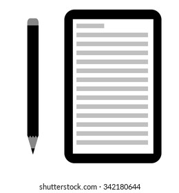 Flat icon of a pencil and memo pad on a white background