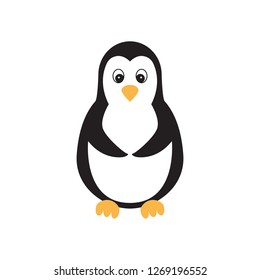 Flat icon penguin isolated on white background. Vector illustration.