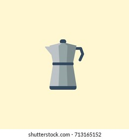 Flat Icon Percolator Element. Vector Illustration Of Flat Icon Moka Pot Isolated On Clean Background. Can Be Used As Percolator, Coffee And Maker Symbols.