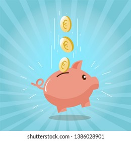 Flat icon piggy bank with coins, euro isolated on Blue background. Vector illustration.