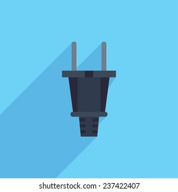 Flat Icon of plug. Isolated on stylish color background. Elements with a long shadow.Icons in flat design.Flat design style modern vector illustration