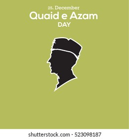 flat icon of Quaid-e-azam, founder of pakistan, birthday celebration day