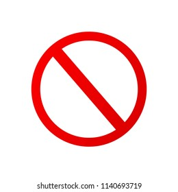 Flat icon red forbidden sign isolated on white background. Vector illustration. Closed sign.