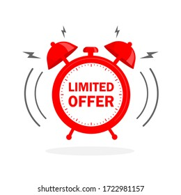 Flat icon with red limited offer for any purpose. Last chance sale. Flat concept. Promotion banner concept.