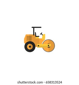 Flat Icon Road Roller Element. Vector Illustration Of Flat Icon Steamroller Isolated On Clean Background. Can Be Used As Steamroller, Road And Roller Symbols.