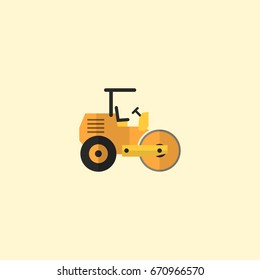Flat Icon Road Roller Element. Vector Illustration Of Flat Icon Steamroller Isolated On Clean Background.