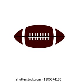 Flat icon rugby ball isolated on white background. Vector illustration.