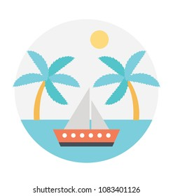 Flat icon of a sea route to bahamas