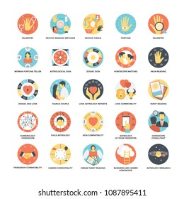 Flat Icon Set of Astrological, Numerological and Palmistry Symbols