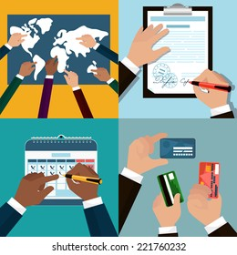 Flat icon set of business and bargain processes . Human hands holding credit cards, cutaway, pen. Human hands to show world Map, signs the document, mark on the calendar.?artoon style. Vector EPS10