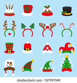 Flat icon set Christmas carnivals caps. Santa Claus hat set isolated.
