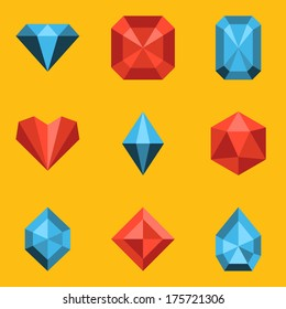 Flat icon set. Diamond