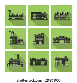 Flat Icon set of distribution warehouse and factories.  Silhouette Factory distribution warehouse icon illustrations.  Manufacturer production facility distributing goods.