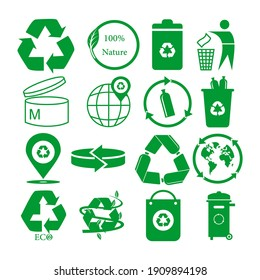 flat icon set for green eco packaging, Vector illustration of recycle mark. eps 10