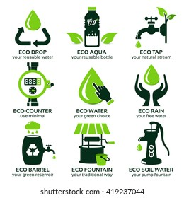 flat icon set for green eco water, the drop shadow contains transparencies, eps10