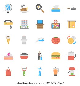 Flat Icon Set of Hotels and Restaurants