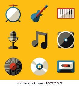 Flat icon set. Music
