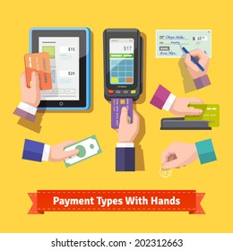 Flat icon set of payment types. Human hands holding credit cards, cash, coins, writing check, paint at POS. EPS 10 vector.