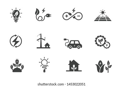 flat icon set related to renewable energy, source of energy