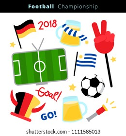 Flat icon set of a soccer vector items, fans attributes and flags of Germany a and Uruguay for Football Championship