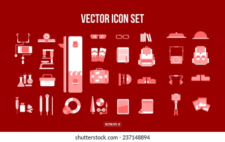 Flat Icon set. Student, photographer, beach and medical. Vector.Eps.10