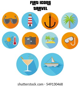 Flat Icon Set With Sunglasses, Island, Palm Tree Long Shadow For Travel