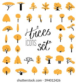 Flat icon set of tree species. Stems and branches icon set. Tree icons. Simple and flat. Isolated on white background.