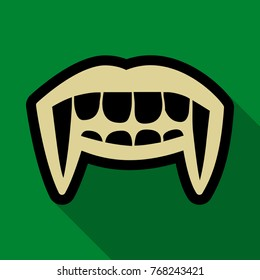 Flat icon with shadow vampire teeth