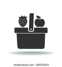 Flat icon. Shopping basket. Fruit.