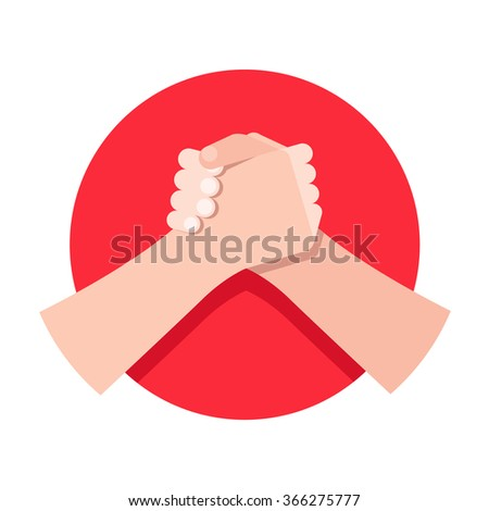1d182c7a956e Flat Icon Sign Armwrestling Handshake Circle Stock Vector (Royalty ...