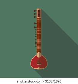 Flat icon of sitar instrument Vector illustration long shadow flat icon of sitar instrument
