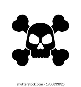 Flat icon of a skull with crossed bones. Isolated vector illustration.