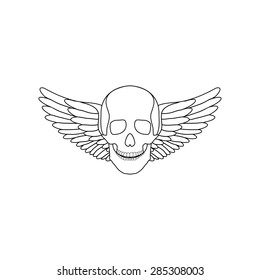 Flat Icon of skull with wings. Isolated on white background. Modern vector illustration in a tattoo style.