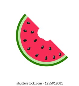 Flat icon slice of watermelon. Vector illustration icon