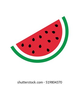 Flat icon slice of watermelon. Vector illustration.