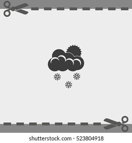 Flat icon of snow. Sun behind the clouds sign.