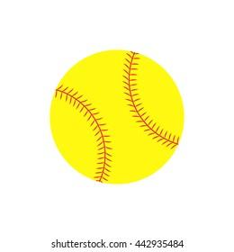 Flat icon softball ball. Vector illustration.