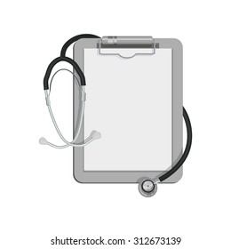 Flat Icon of stethoscope. Isolated on white background. Modern vector illustration for web and mobile.