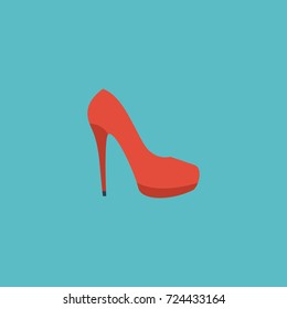 Flat Icon Stiletto Element. Vector Illustration Of Flat Icon Heeled Shoe Isolated On Clean Background.