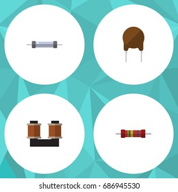 Flat Icon Technology Set Of Resistor, Coil Copper, Resistance And Other Vector Objects. Also Includes Spool, Fiildistor, Coil Elements.