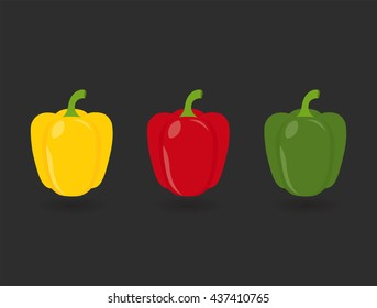 Flat icon three peppers with shadows. Yellow, red and green pepper on gray background. Vector illustration.