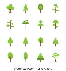 Flat icon tree collection isolated on white background.Green forest.Ecology concept.Design for web clipart.