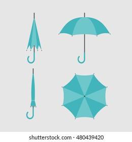 Flat icon umbrella. Opened and folded umbrellas