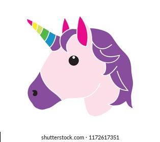 Flat icon unicorn emoji