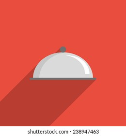 Flat Icon of utensils for eating. Isolated on stylish color background. Elements with a long shadow.Icons in flat design.Flat design style modern vector illustration