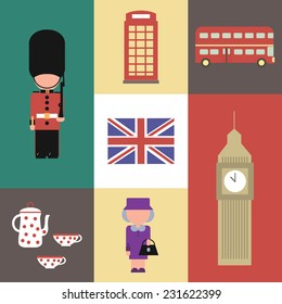 Flat  icon vector of England symbol with queen, tea pot, Big Ben, guard, flag, telephone and bus. EPS 10