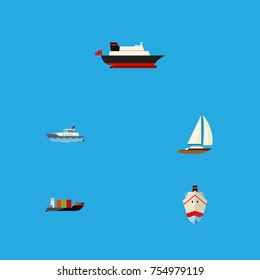 Flat Icon Vessel Set Of Cargo, Tanker, Delivery And Other Vector Objects. Also Includes Yacht, Shipping, Vessel Elements.