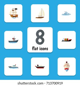 Flat Icon Vessel Set Of Delivery, Tanker, Boat And Other Vector Objects. Also Includes Vessel, Pirate, Cargo Elements.