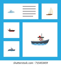 Flat Icon Vessel Set Of Ship, Boat, Transport And Other Vector Objects. Also Includes Cargo, Transport, Vessel Elements.