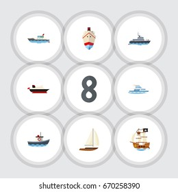 Flat Icon Vessel Set Of Yacht, Vessel, Sailboat And Other Vector Objects. Also Includes Yacht, Vessel, Cargo Elements.